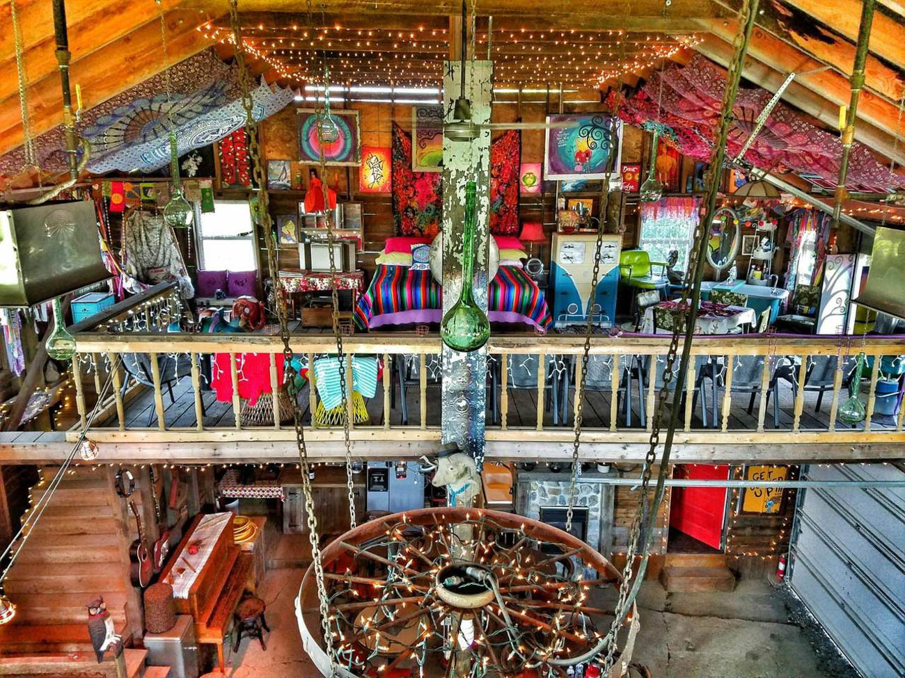 Bock's Jukepoint in Amherst is a magical, colorful barn with a recreated saloon inside, complete with a bar and stage. It has hosted more than 100 musicians (some of them Grammy-nominated!) from around the world. The space was inspired by the shotgun shacks from the Mississippi Delta. It sleeps four with 1 bedroom and 1 bath. It's about four hours from Cincinnati. / Image: Stefan and Stacey Bock // Published: 5.21.19