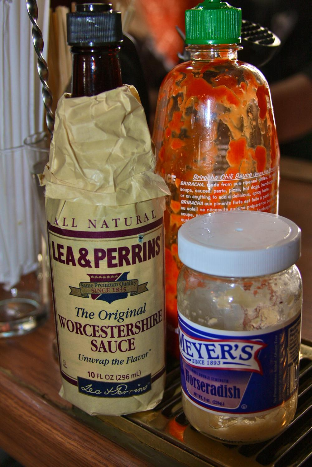 The ingredients used along with the Bloody Mary Mix in Brandon's infamous Bloody Marys / Image: Molly Paz