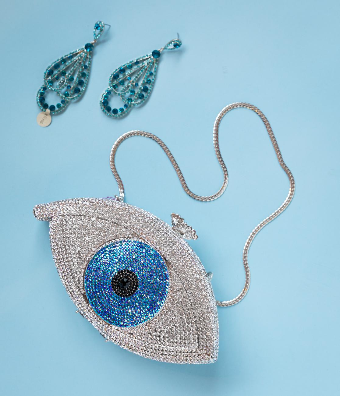 Evil eye cocktail clutch and gemstone studded earrings / Image: Marlene Rounds // Published: 9.30.18
