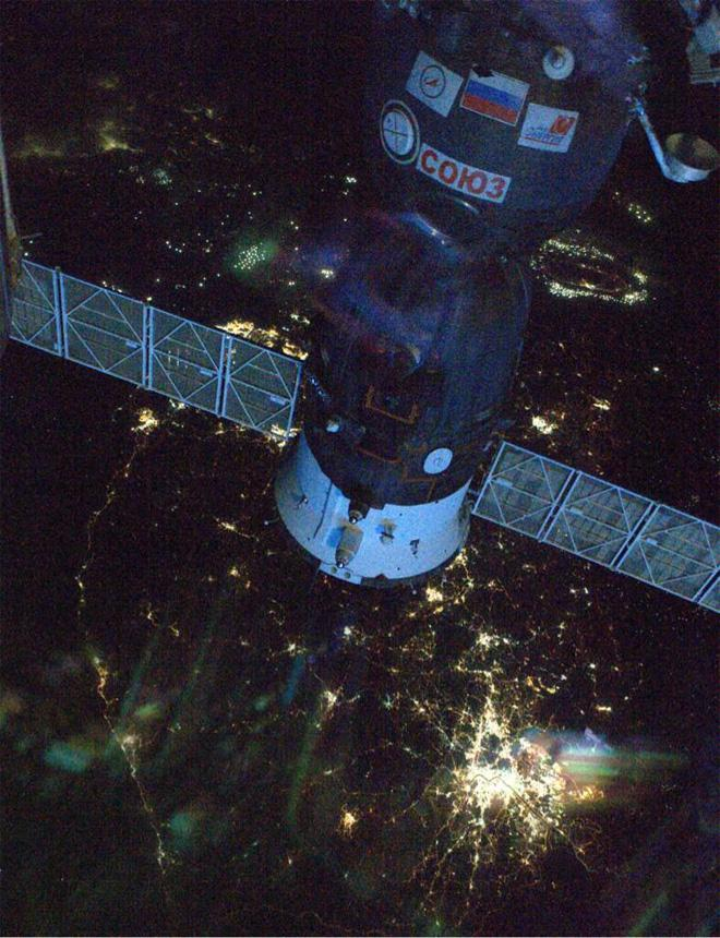 Our Soyuz over S. Korea  (Photo & Caption courtesy Reid Wiseman (@Astro_Reid) and NASA)