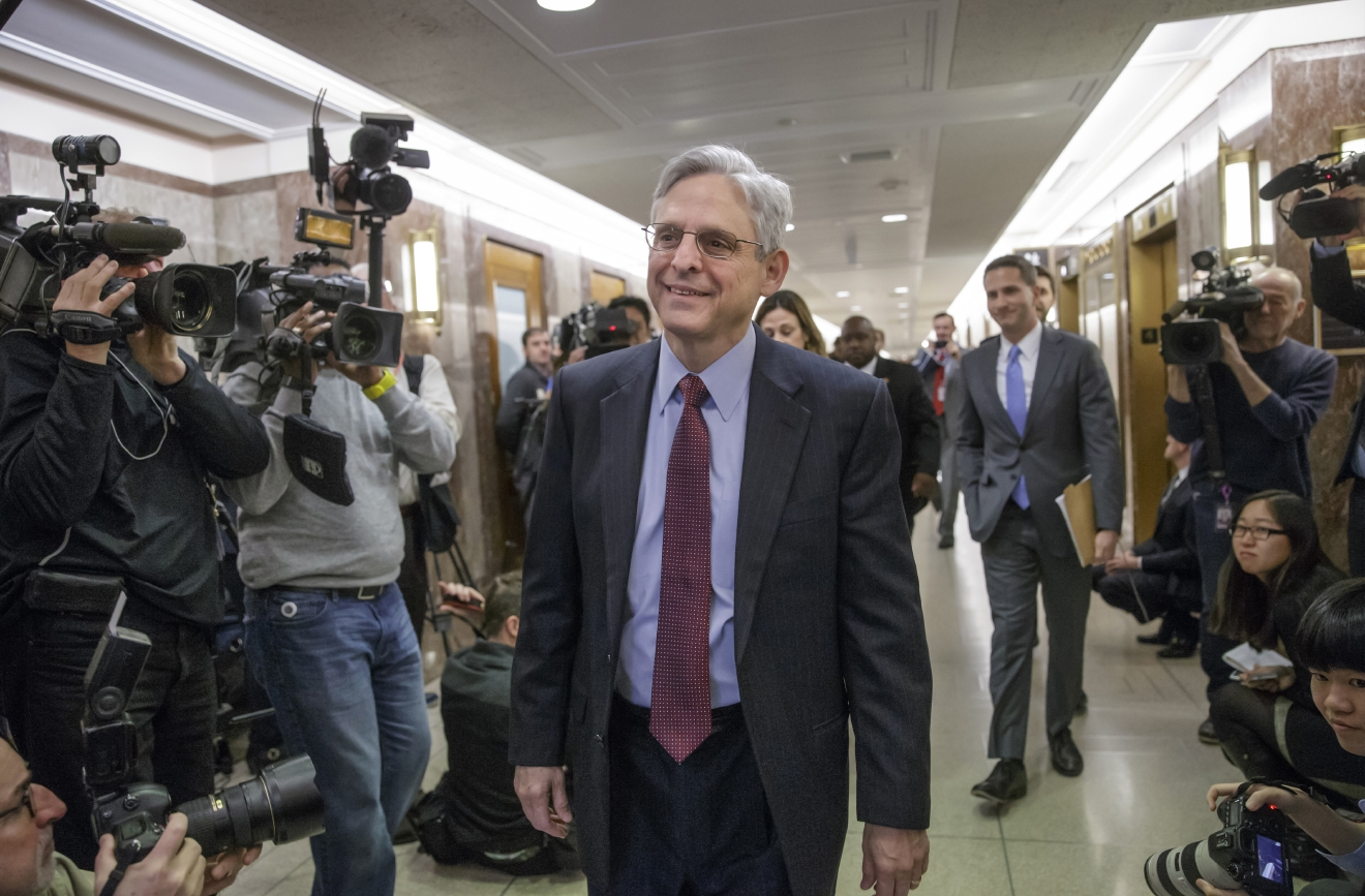 Judge Merrick Garland, President Barack Obama's choice to replace the late Justice Antonin Scalia on the Supreme Court, arrives to meet with Sen. Susan Collins, R-Maine, on Capitol Hill in Washington, Tuesday, April 5, 2016. Republican senators, at the insistence of Majority Leader Mitch McConnell, R-Ky., remain steadfast in refusing to hold hearings or a confirmation vote on the nomination during the waning months of Obama's presidency.   (AP Photo/J. Scott Applewhite)