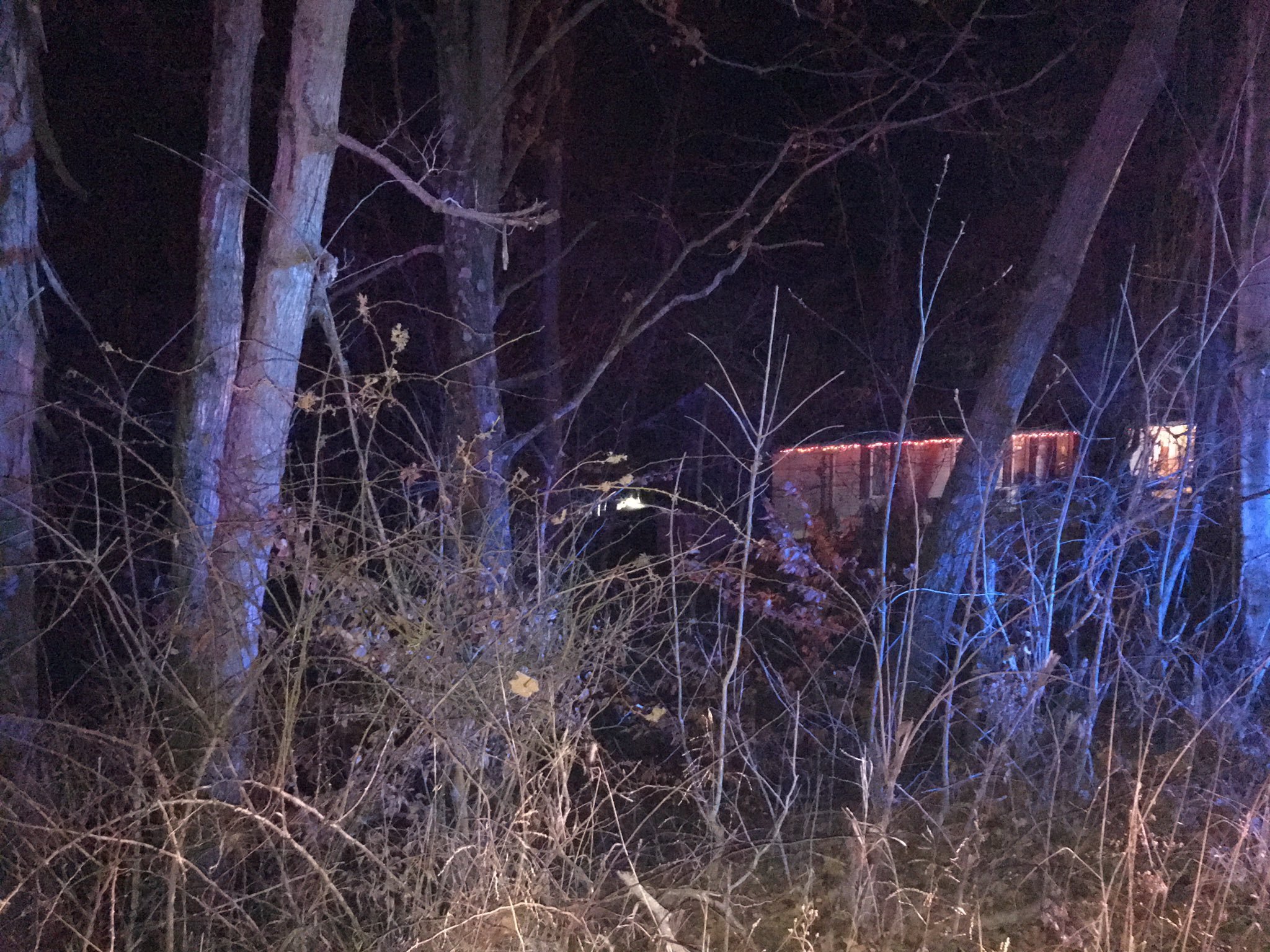 A plane crashed and caught on fire Saturday night in Oldenburg. (WKRC)