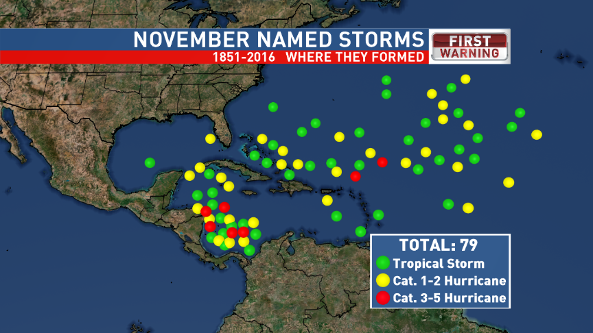 Where Storms Form in November
