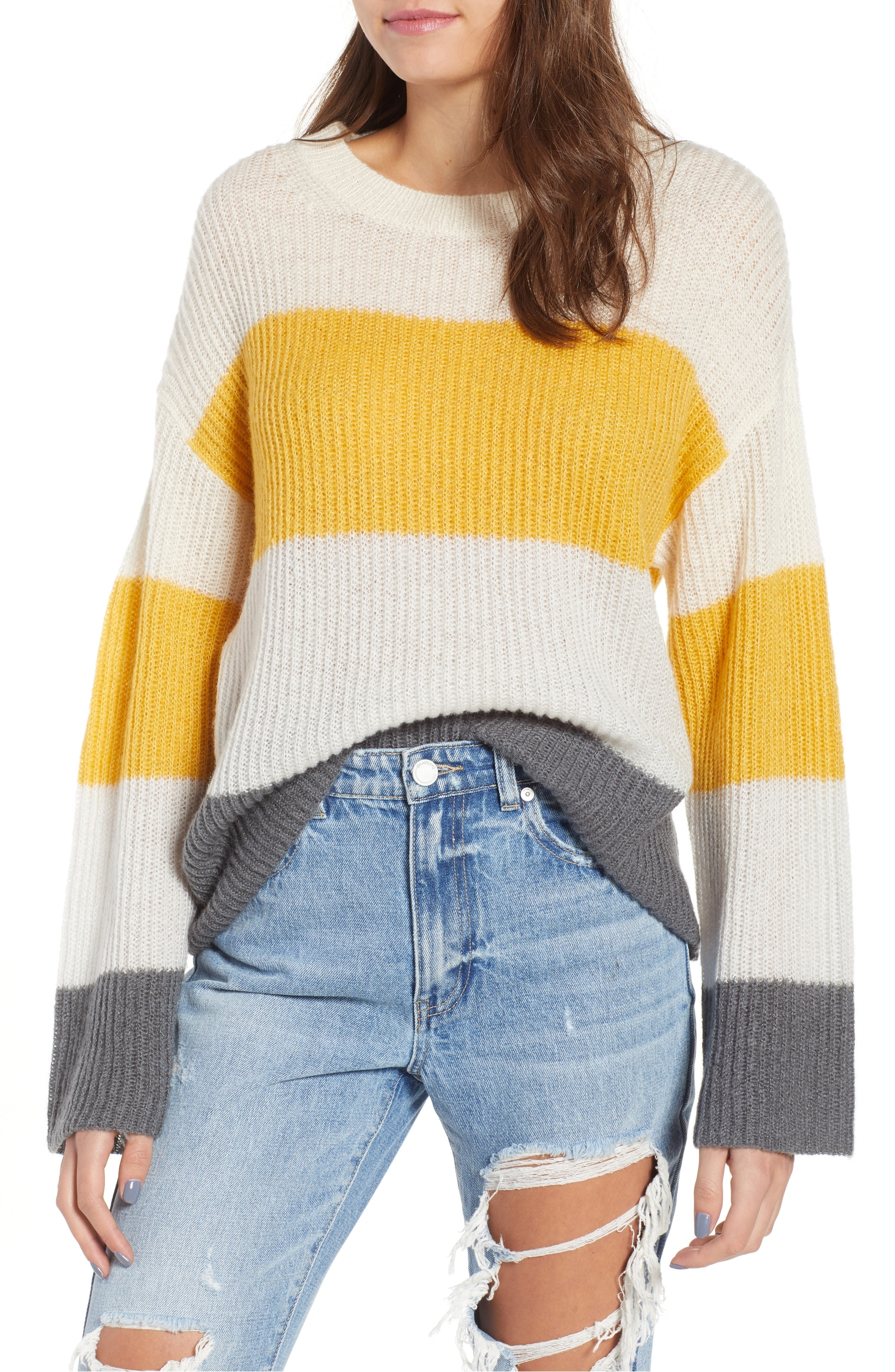 The Trend: Chunky Sweaters. Broad stripes and dropped shoulders accentuate the slouchy fit of a chunky-knit sweater that's best paired with carefree weekends. BP - $49.00. (Image: Nordstrom)