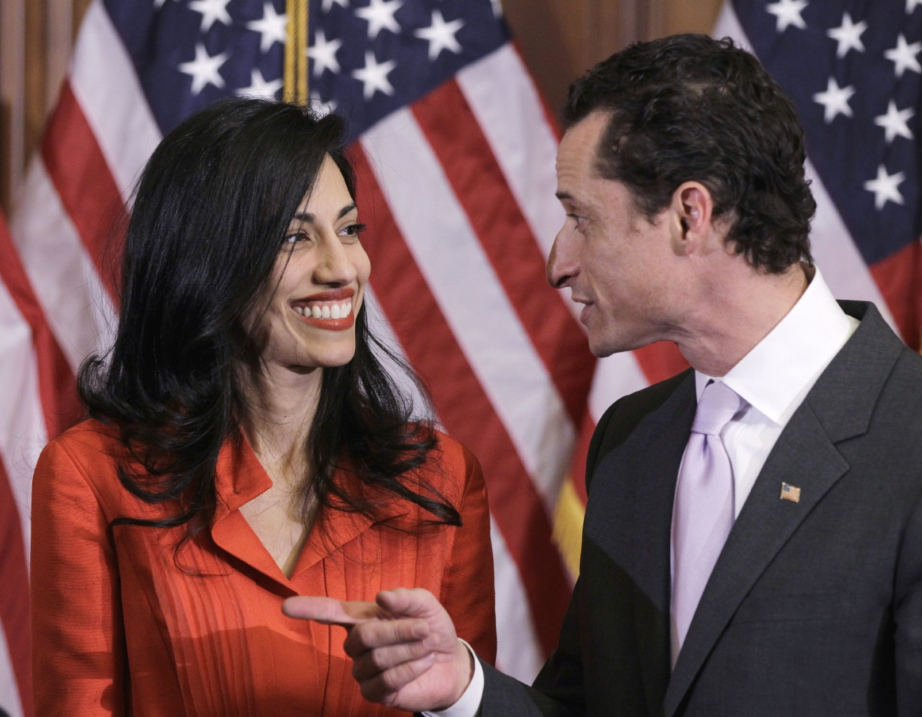In this photo taken Jan. 5, 2011, then-New York Rep. Anthony Weiner and his wife, Huma Abedin, an aide to then-Secretary of State Hillary Clinton, are pictured after a ceremonial swearing in of the 112th Congress on Capitol Hill in Washington.  (AP Photo/Charles Dharapak)