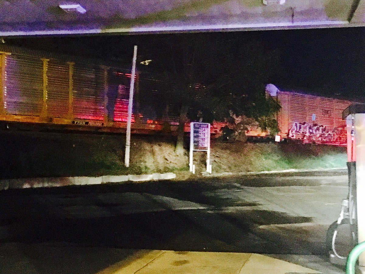 A Providence and Worcester Railroad train crashed into a car on the tracks in Woonsocket, Monday, Nov. 6, 2017. (WJAR)