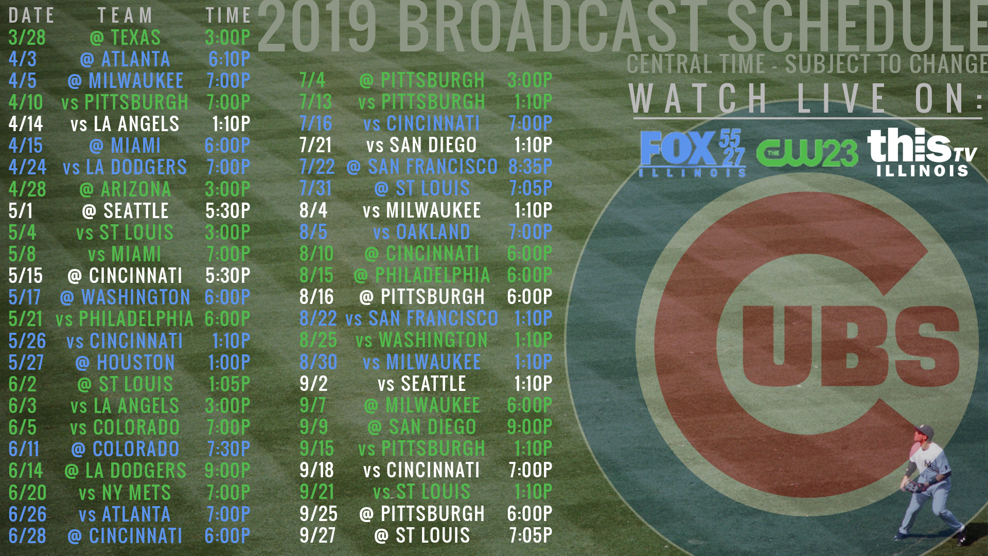 Watch live game broadcasts on FOX Illinois, CW23 and ThisTV in your local area.