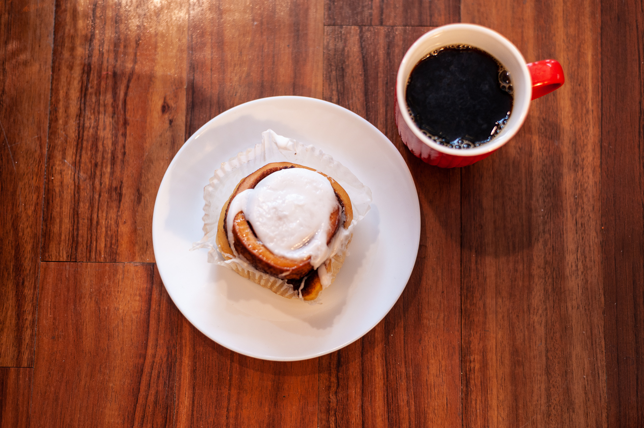 Cinnamon roll and & black coffee{ }/ Image: Kellie Coleman // Published: 1.31.21